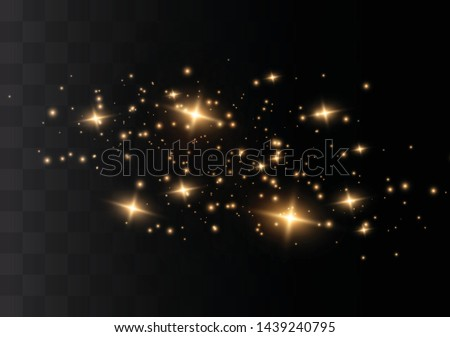 The dust sparks and golden stars shine with special light. Vector sparkles on a transparent background. Christmas light effect. Sparkling magical dust particles. #1439240795