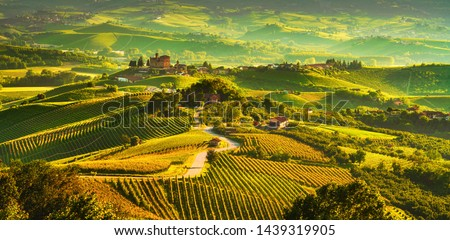 Langhe vineyards sunset panorama, Grinzane Cavour, Unesco Site, Piedmont, Northern Italy Europe. #1439319905
