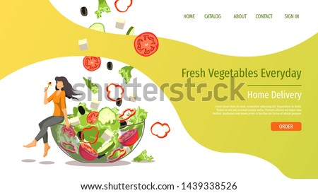 Web page design template for fresh vegetables, organic food, natural products, online food ordering, recipes. Vector illustration for poster, banner, website development. #1439338526
