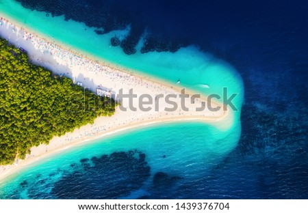 Croatia, Hvar island, Bol. Panoramic aerial view at the Zlatni Rat. Beach and sea from air. Famous place in Croatia. Summer seascape from drone. Travel - image #1439376704