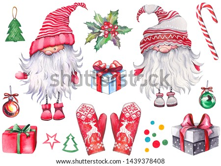 Christmas set of Scandinavian nissers (gnomes, elves, dwarfs, tonttus, tomtes), red mittens, gift boxes, holly berries, balls, candy cane and confetti. Watercolor isolated on white.
