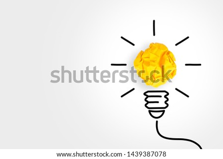 Idea Solution Concepts Light Bulb with Crumpled Paper on White Background #1439387078
