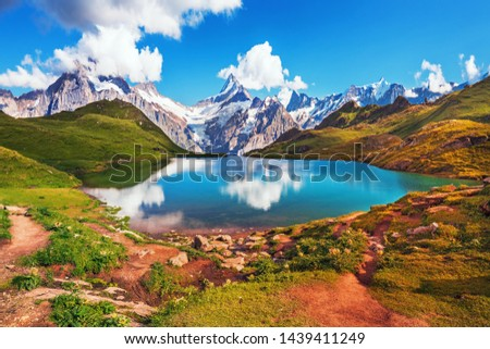 Sunrise  view on Bernese range above Bachalpsee lake. Popular tourist attraction. Location place Swiss alps, Grindelwald valley, Europe.  #1439411249