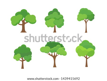 Flat tree icon illustration. Trees forest simple plant silhouette icon. Nature oak organic set design. Royalty-Free Stock Photo #1439415692
