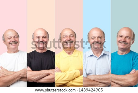 Horizontal collage portrait of senior man in different clothes laughing and looking with smile at camera. Try different color of clothes. #1439424905