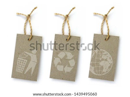 Recycled paper label with pictogram: sorting of waste, recycling, earth globe #1439495060