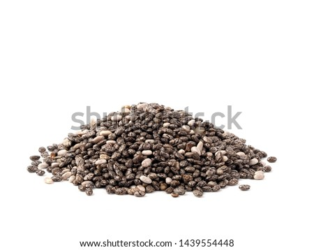 chia seeds on white background. Pile of healthy chia seeds Isolated on white with clipping path. #1439554448