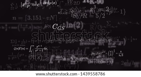 Mathematics and physics. 2d illustration. Set of mathematical algorithms on constant background. Symbols on dark surface. #1439558786