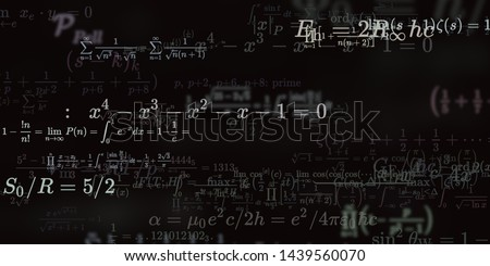 Mathematics and physics. 2d illustration. Set of mathematical algorithms on constant background. Symbols on dark surface. #1439560070