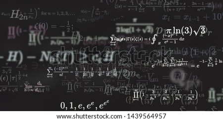 Mathematics and physics. 2d illustration. Set of mathematical algorithms on constant background. Symbols on dark surface. #1439564957