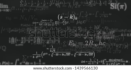 Mathematics and physics. 2d illustration. Set of mathematical algorithms on constant background. Symbols on dark surface. #1439566130