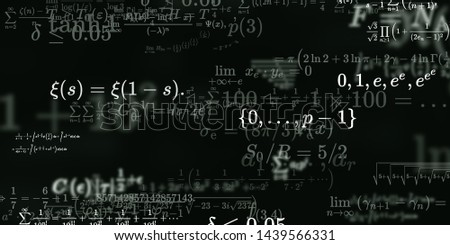 Mathematics and physics. 2d illustration. Set of mathematical algorithms on constant background. Symbols on dark surface. #1439566331