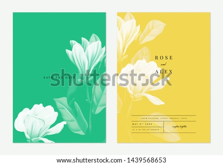 Floral wedding invitation card template design, Anise magnolia flowers with leaves on green and yellow, two tones color #1439568653