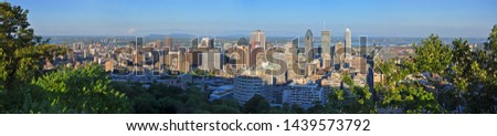Montreal city skyline panorama from Parc Mont-Royal (Mont-Royal Park), Quebec, Canada. #1439573792