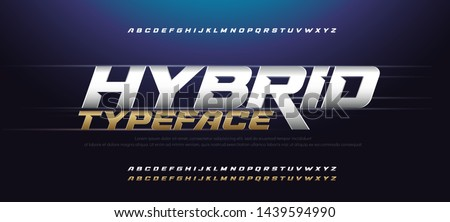 Sport Modern Italic Alphabet Gold Font. Typography 3D urban style silver and golden fonts for technology, digital, movie logo design. vector illustration Royalty-Free Stock Photo #1439594990