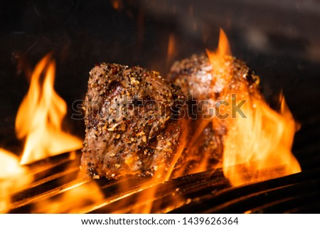 Beef Steak with Flames and Smoke on Grill #1439626364