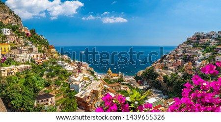 Landscape with Positano town at famous amalfi coast, Italy #1439655326