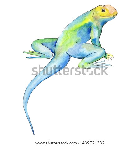 Exotic animal wild animal in a watercolor style isolated. Background illustration set. Watercolour drawing fashion aquarelle isolated. Isolated reptilia illustration element. #1439721332