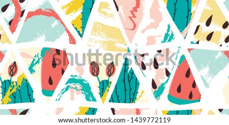 Cactus and watermelon ice cream summer seamless triangles pattern. Stock vector #1439772119