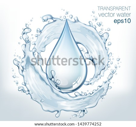 Transparent vector water splash and wave on light background #1439774252