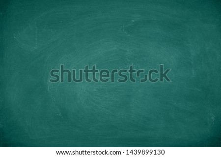Green Chalkboard. Chalk texture school board display for background. chalk traces erased with copy space for add text or graphic design. Backdrop of Education concepts  #1439899130