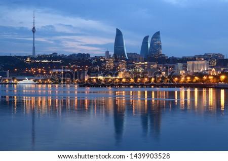 Panorama of night Baku with a view from the boulevard.Azerbaijan #1439903528
