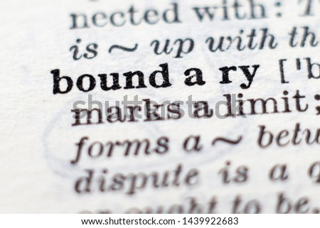 Dictionary definition of word boundary, selective focus. Royalty-Free Stock Photo #1439922683