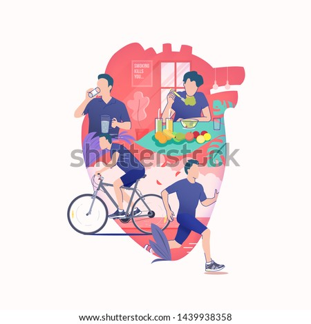 flat illustration of man drinking water, man rides a bike, man jogging and man eat healthy food like a fruit in silhouette of heart, healthy lifestyle for healthy heart, world heart day vector #1439938358