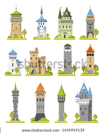Cartoon castle vector fairytale medieval tower of fantasy palace building in kingdom fairyland illustration towering set of historical fairy-tale towered house isolated on white background #1439959139