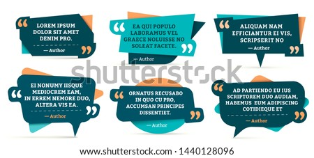 Quote remark frames. Quotation frame, quotes and mention quotations remarks templates. Info tag, quote textbox blog remarks or discussion citation memo word label. Isolated symbols vector set #1440128096