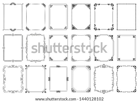 Decorative frames. Retro ornamental frame, vintage rectangle ornaments and ornate border. Decorative wedding frames, antique museum picture borders or deco devider. Isolated icons vector set Royalty-Free Stock Photo #1440128102