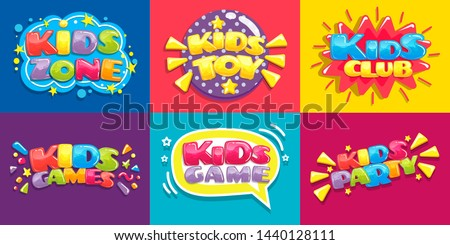 Kids club posters. Toys fun playing zone, children games party and play area poster. Kid entertainment camp poster, preschool baby education room clubs banner vector illustration set #1440128111