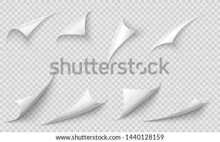 Curled page corner. Paper edges, curve pages corners and papers curls with realistic shadow. Flipping book page, blank curling papers corner. Isolated 3d vector illustration signs set #1440128159