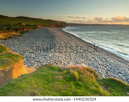 Pebble beach between Westward Ho and Abbotsham in North Devon Royalty-Free Stock Photo #1440230324
