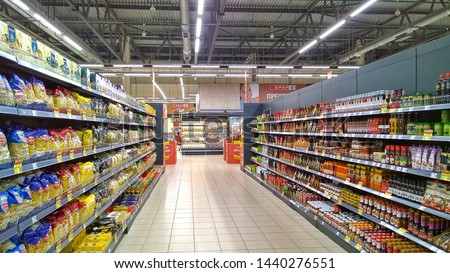 ST. PETERSBURG, RUSSIA - June 10, 2019: Top Russian Supermarket SPAR is one of largest players of retail industry in Russia. #1440276551