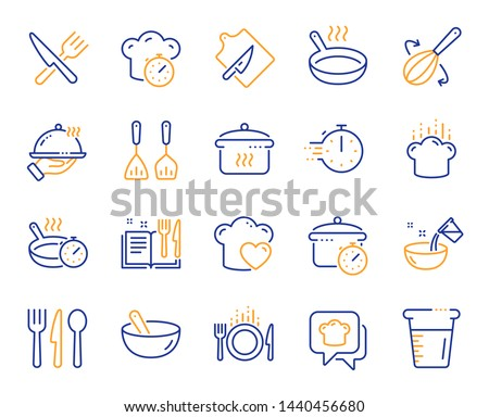 Cooking line icons. Boiling time, Frying pan and Kitchen utensils. Fork, spoon and knife line icons. Recipe book, chef hat and cutting board. Cooking book, frying time, hot pan. Vector #1440456680