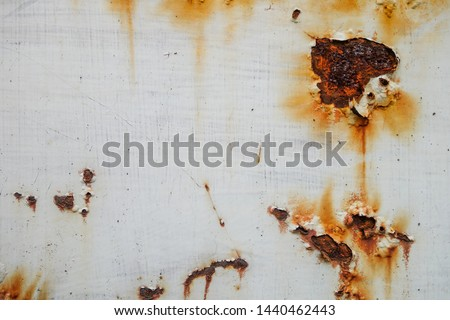 Corrosive Rust on old iron,White steel with rust #1440462443