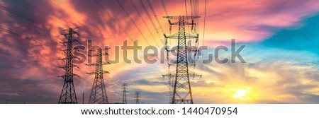 High voltage post,High voltage tower sky sunset background #1440470954