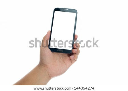 Hand holding smart phone with blank screen on white background #144054274