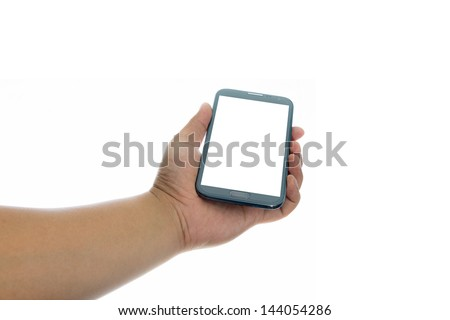 Hand holding smart phone with blank screen on white background #144054286