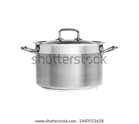 Stainless steel saucepot isolated on white background. Side view. #1440553628