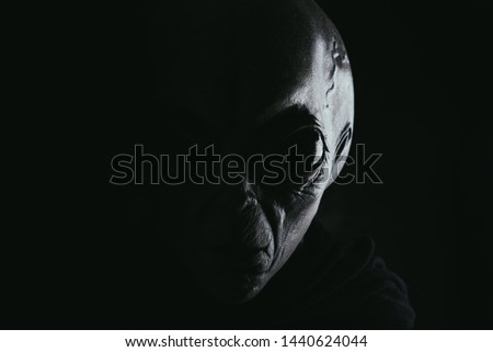 Grey humanoid alien . portraits set  Royalty-Free Stock Photo #1440624044