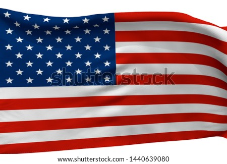 3d illustration a waving flag of The United State of America #1440639080