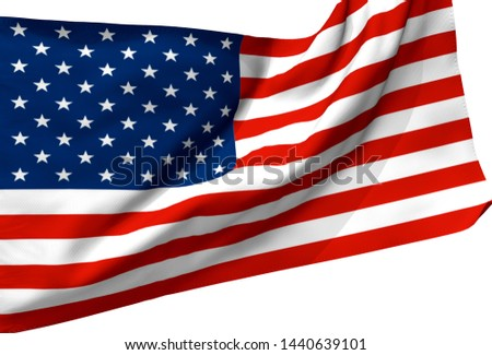 3d illustration a waving flag of The United State of America #1440639101