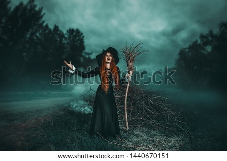 A portrait of an angry witch with a broodstick near the forest. Magic, dark force, spell.  Royalty-Free Stock Photo #1440670151