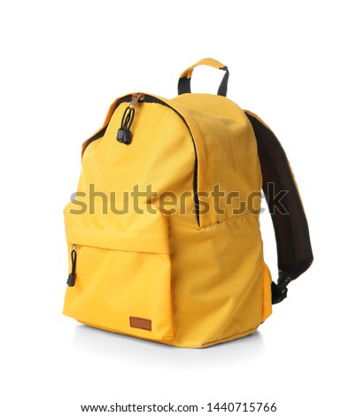 School backpack on white background Royalty-Free Stock Photo #1440715766