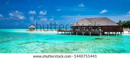 sea in Maldives. tropical beach in Maldives with  blue lagoon #1440755441