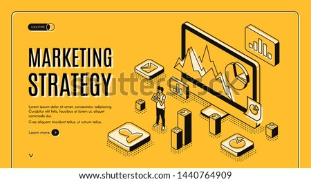 Digital marketing agency isometric web banner. Internet entrepreneur planning business strategy, analyzing statistics data online line art illustration. Financial analytic company landing page