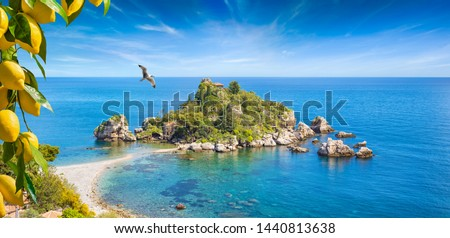 Isola Bella is small island near Taormina, Sicily, Italy. Narrow path connects island to mainland Taormina beach in azure waters of Ionian Sea. Bunches of fresh yellow ripe lemons on foreground. #1440813638