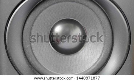 Close-up of sub-woofer speaker bass vibration #1440871877
